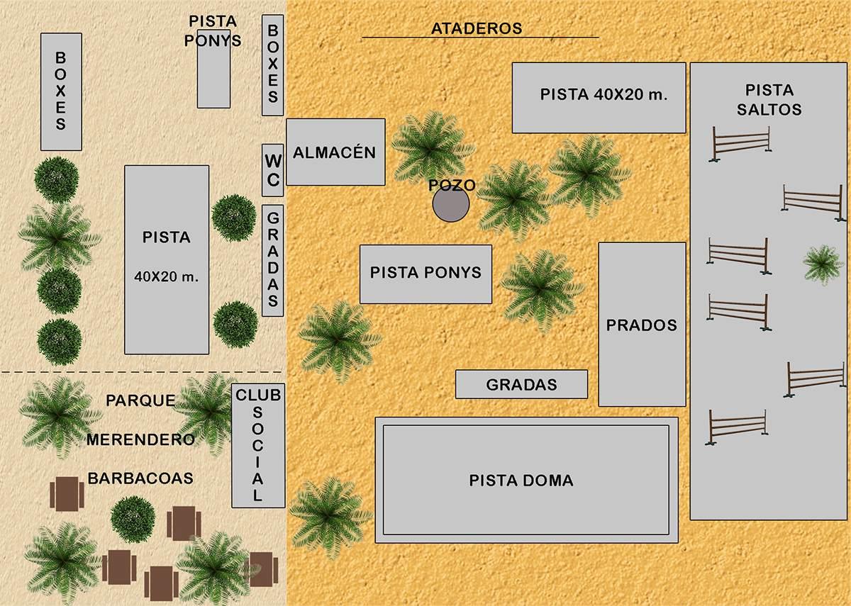 Instalaciones del picadero. Escuela Hípica Riopudio. Espartinas, Sevilla. Celebraciones con merenderos.